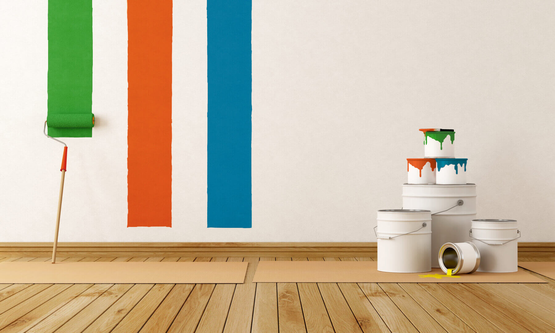 Painting the wall and selectively choosing out the best color for the room. There are paint buckets on the side of the wood floors. Painting a room the right color can make an instant mood change.