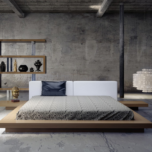 Platform beds are a great minimalist design. They work great with abstract artwork that helps build depth in the room.