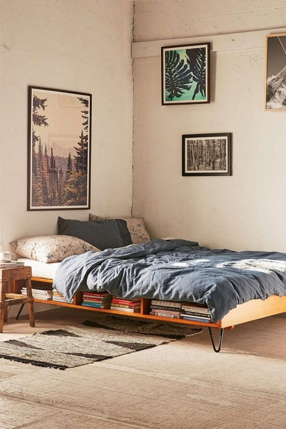 Take a ride into nature with a laid back tone that this bedroom provides. Nature on the walls and the lightweight bed provide good comfort.