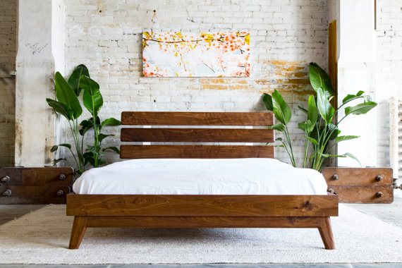 The pinnacle of natural modern, this style of bed was originally brought on by the pallet style decor. This is one of the more quality designs with seamless wood and the illusion of floating wood slats to give a sensual explosion. This is a nature lovers dream decor.
