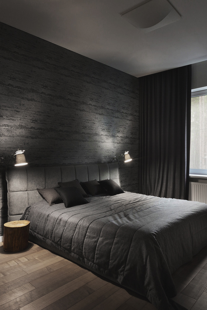 Something you would expect in a Manhattan high-rise. This dark lavish style consumes the room and and over the course of laying down, might go as far as giving the illusion of floating if it's dark enough.