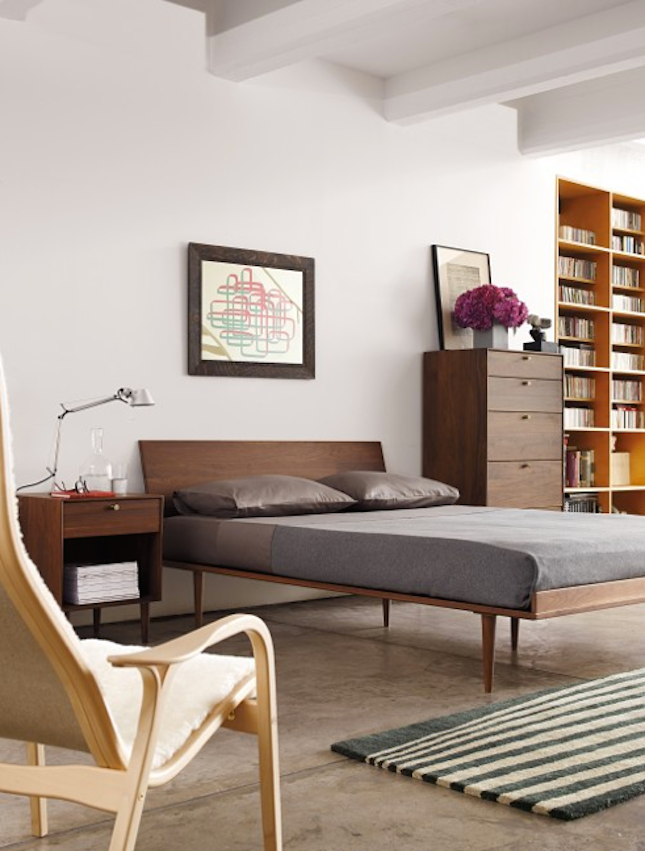 This mid-century modern bed is perfect for someone who packs light and likes a minimal design.