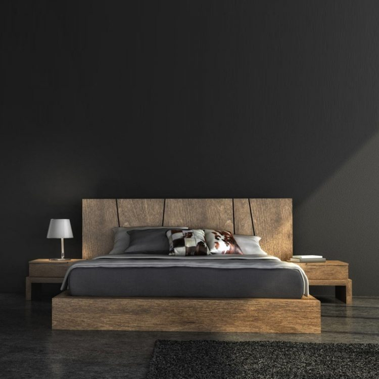 A wooden bedroom design is a sure pleasure for a modern enthusiast. This black design absorbs the reflective light, which can make it seem smaller. However, the trade-off is the great nights sleep your going to get with it's low-light output.