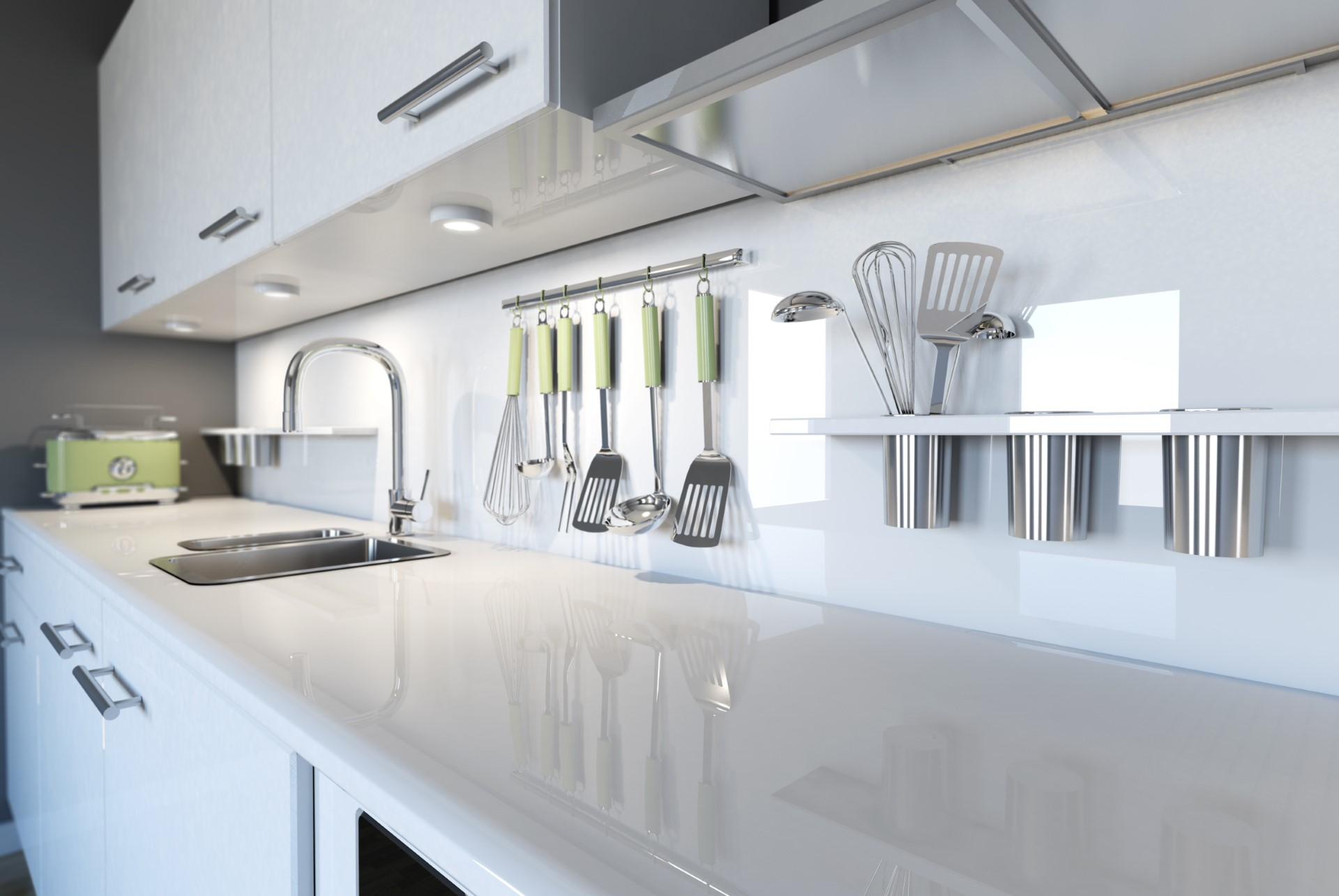 A minimalist design at its finest, this structured organization of the kitchen gives everything its own special place. This is great for someone who doesn't like to lose things and tends to be a very efficient layout. The glossy white counters add to the benefit by being more resistance to stains.