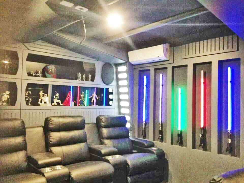 This type Star Wars room requires a little bit of work to do properly. You're looking at paneling, framed recesses, and properly run electrical. When done properly, you can bring a Star Wars room of this magnitude the life.