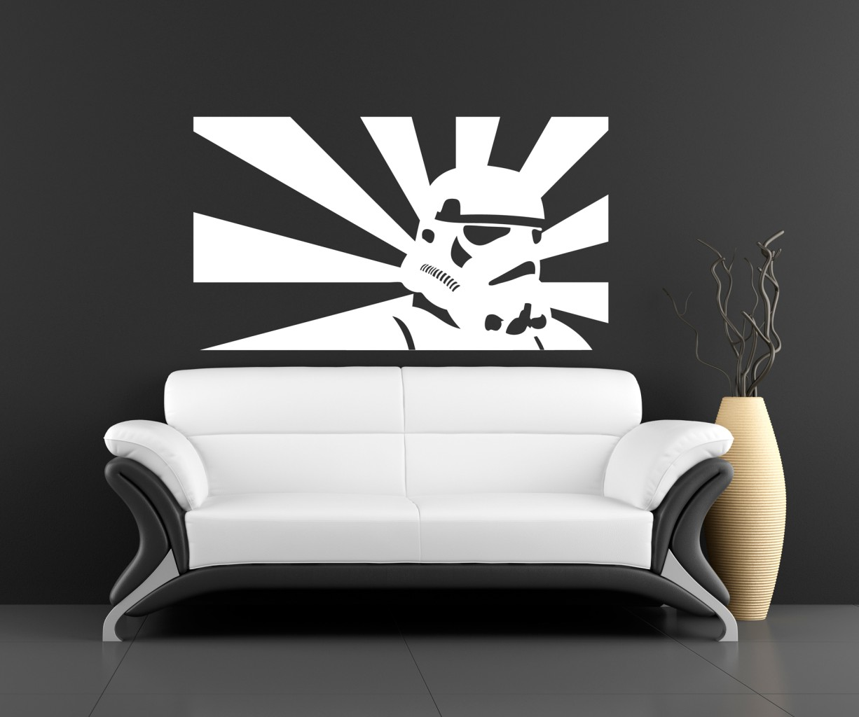 If you're going for a minimalist Star Wars design, all it takes is a fresh looking leather couch, and a bold Star Wars art piece.