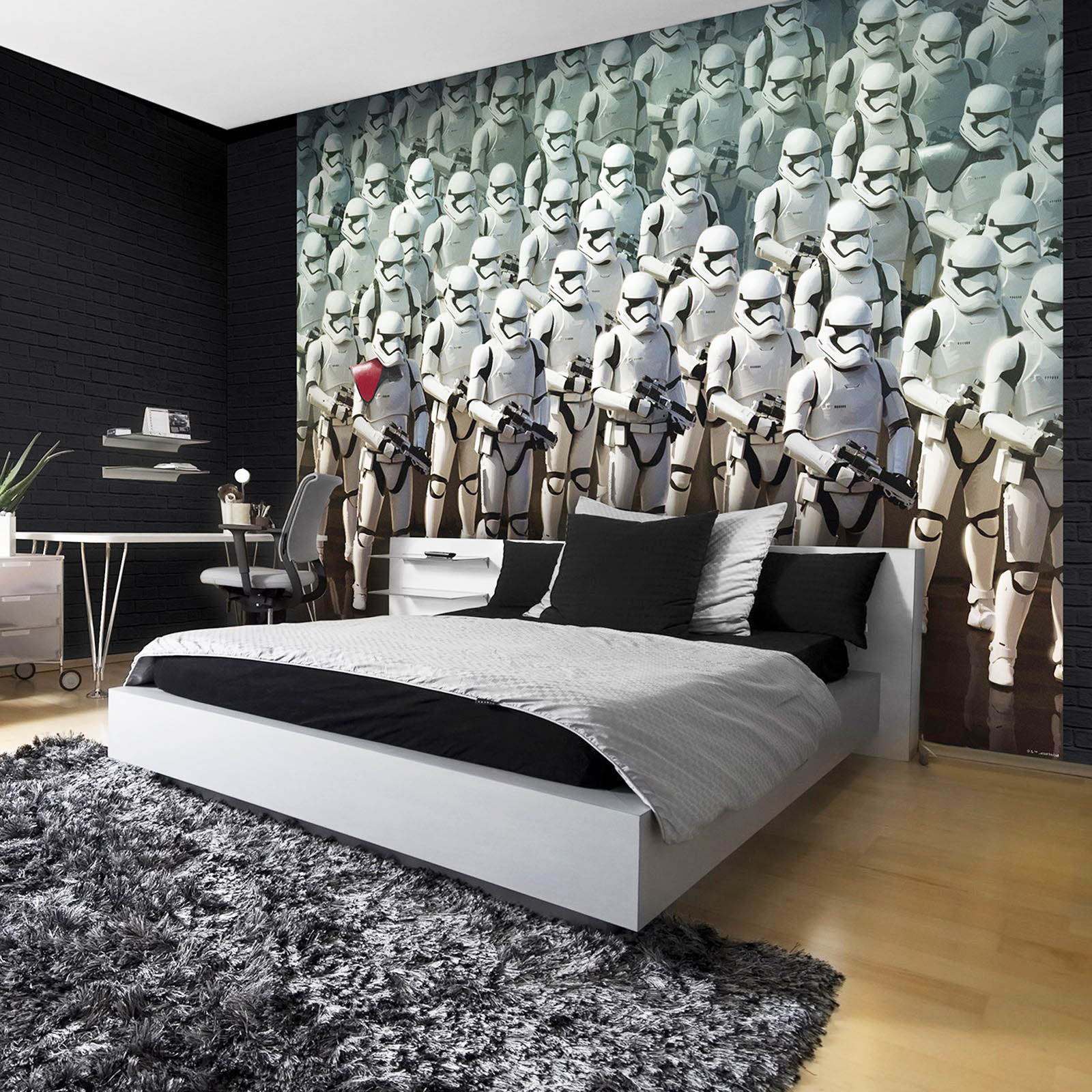 Little did they know, once they got past my ring doorbell I had an entire army of storm troopers in my room, pretty cool wallpaper.