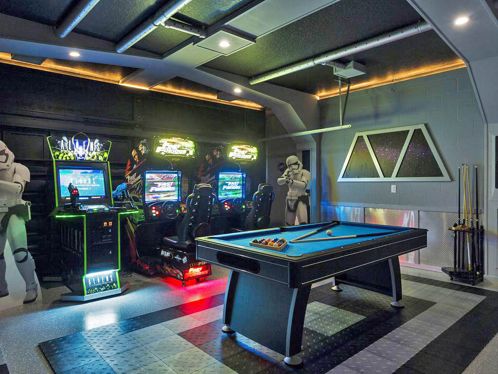 So far, this is the nicest Star Wars game I've seen. If you're wondering, this is a Star Wars vacation rental that can be found in the neighborhood Champion Villa located in Four Corners, Florida.