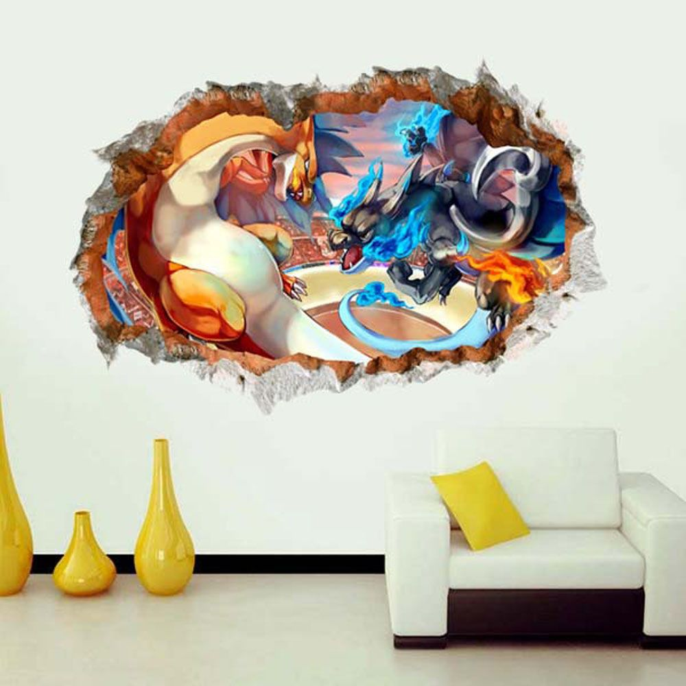 A breakaway wall sticker of Pokémon can provide a unique style for showing off your love for the card game.