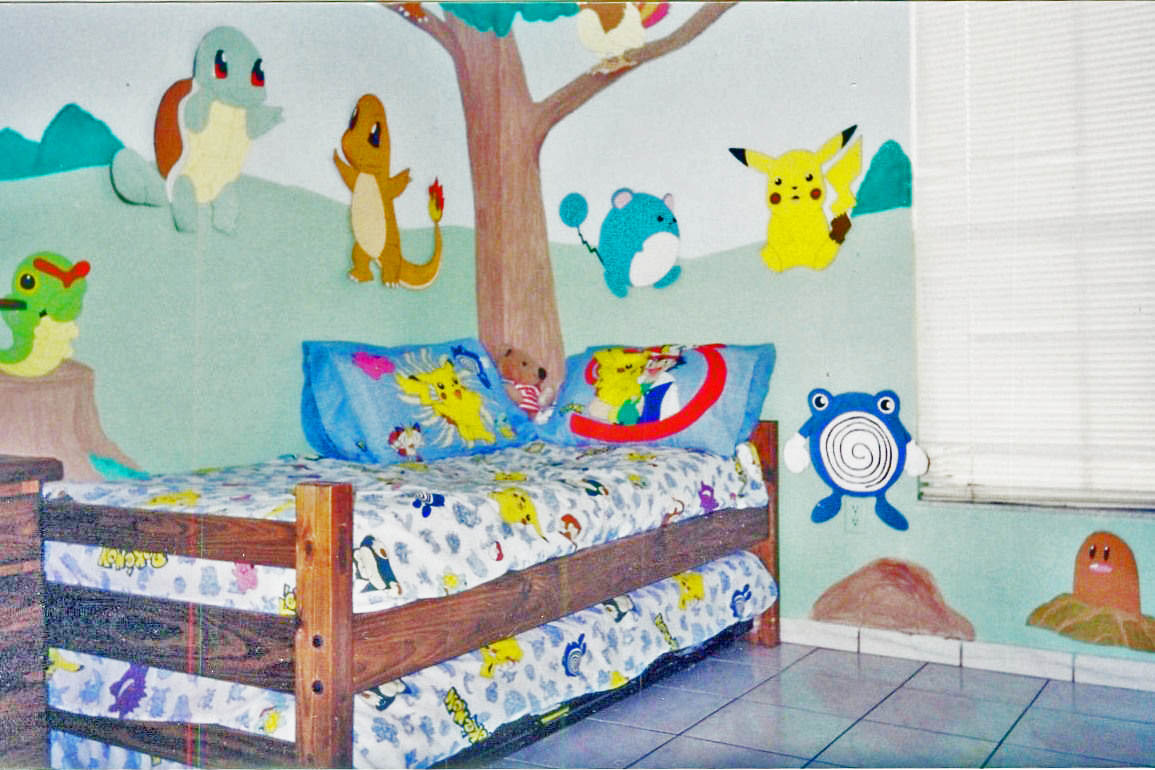 If you're feeling artistic, you can paint some background scenery and make it finish it off with pokemon stickers.