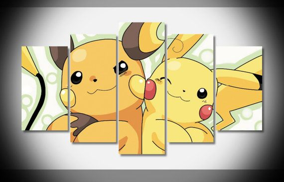 This five panel canvas set featuring Pikachu and Riachu is a superb contemporary way for decorating a kids bedroom.