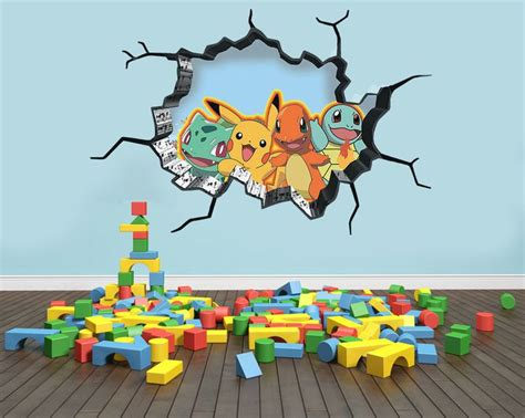 A Pokémon vinyl sticker is a great economical way to decorate a playroom.