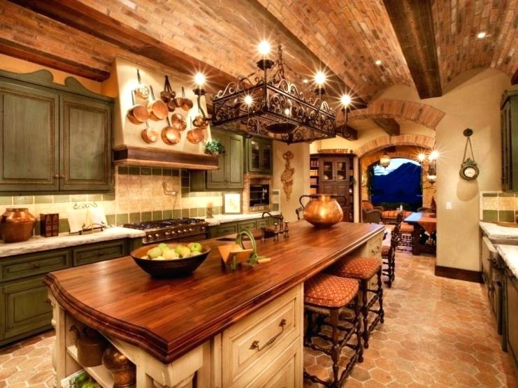 A country farmhouse kitchen this country farmhouse kitchen features brick ceiling with a wood countertop slab with seeding and lighting overhead to provide warmth and durability.