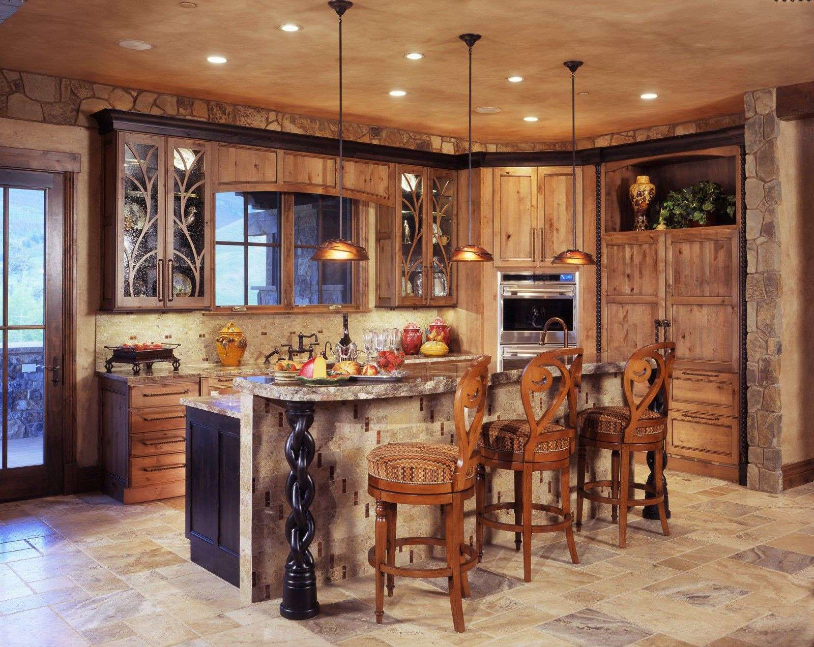 This rustic farmhouse kitchen idea carries more of an English design. Doing a photo finish on the ceiling with lighting over the island countertop with seating is a great idea.