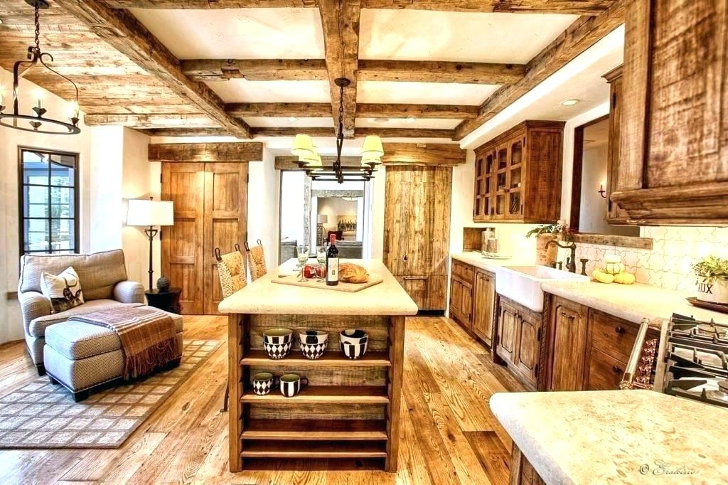 If you're looking for a solid farmhouse design with dark cabinets and wood floors, this is an excellent idea and it even has an island counter top with seating.