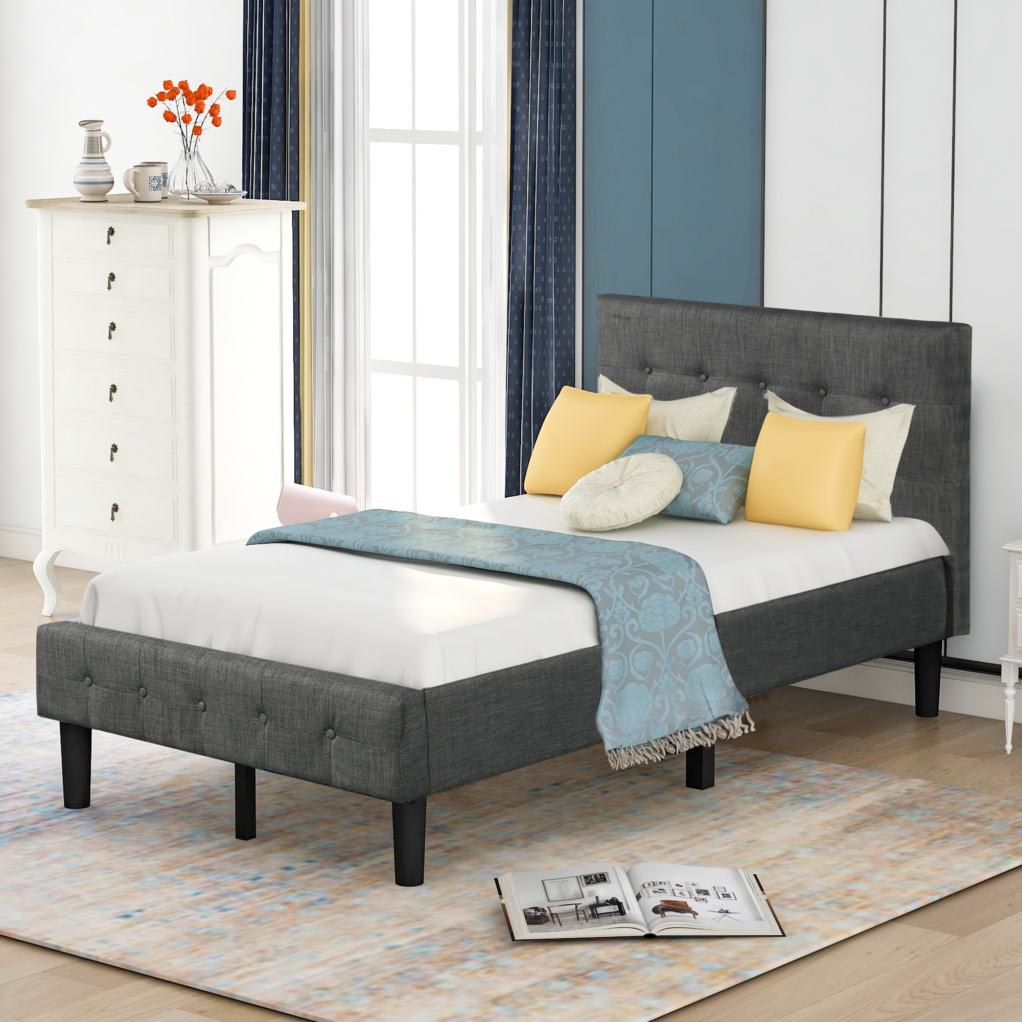 Platform Bed with Wooden Slat Support and Tufted Headboard and Footboard (Twin) Bedroom Furniture for Livingroom US Warehouse